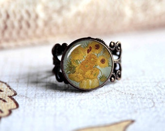 Van Gogh sunflowers adjustable ring, antique silver or antique bronze. Choose your finish