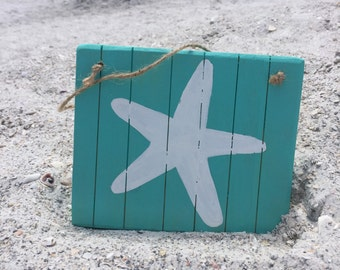 Starfish Beach Wall Decor Wooden Beach Sign Starfish Decor Teal Beach  Bathroom Decor Nautical Coastal Beach