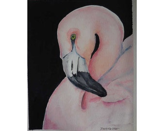 The Pink Flamingo, Original Watercolor, Florida