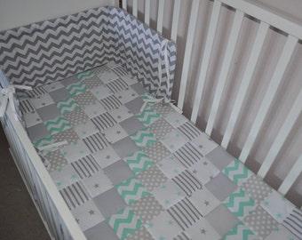 Baby Bedding, Grey Mint Cot Quilt,  Grey Mint Patchwork Quilt, Cot Bedding Grey, Mint Grey Lap Quilt, Handmade Grey Mint Nursery Bedding