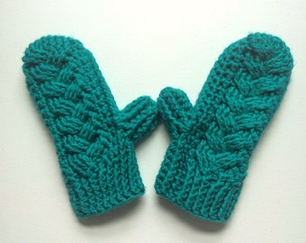 Bright cable crochet mittens