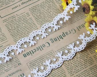2 yards width 3'' ivory wedding lace trim, bridal lace trim,Floral lace trim for DIY Dress,Flowers lace(68-30)