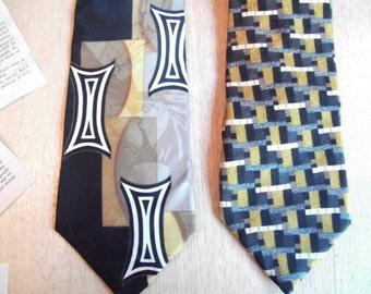 Vintage men's ties, gold, black, white, tan, Bolgheri & Weitzenkorn Enro