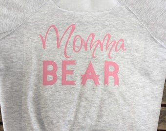 Momma bear off shoulder sweatshirt. Mama Bear sweatshirt. off shoulder sweatshirt. Wide Neck French Terry Sweatshirt made by ThinkElite1.
