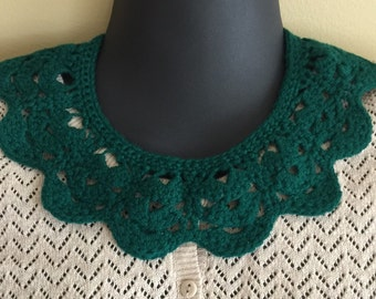 Crochet Sweater Collar Necklace - Handmade Holiday Christmas Green - Holiday Christmas Green - No Metal - Item 38