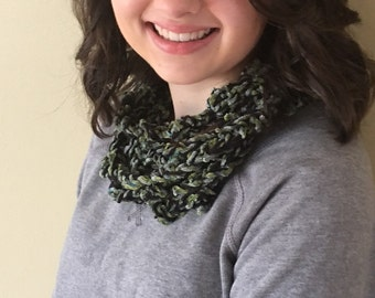 "Chenille Infinity Scarf Cowl for Girls/Women - Handmade Crochet 81"" circumference Velour Blue Green Black - Item S12"