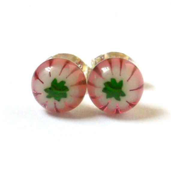 Tiny Pink Flower Earrings, Sterling Silver Studs, Handmade Fused Glass