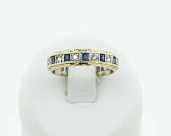 Faux Diamond and Sapphire Eternity Ring SKU697