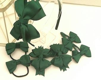 Dark Green headband Set, Green School Uniform 7 pc Headband Set