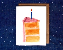 Watercolor Birthday Card, Watercolor Cake Card, Cake Birthday Card, Handmade Birthday Card, Cute Watercolor Card, Happy Birthday Cake Card