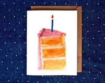 Watercolor Birthday Card, Watercolor Cake Card, Cake Birthday Card, Handmade Birthday Card, Cute Watercolor Card, Happy Birthday Cake Card