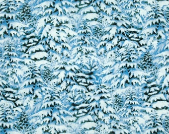 Blue Snow Covered Trees Fabric Wilmington Cotton Quilting Winter Scenic