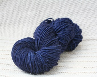 Hand dyed yarn: Indigo BFL wool worsted weight yarn limited time sale