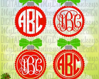 Scallop Ornament with Bow Monogram Base, Christmas Ornament SVG, Digital Clipart and Cut File Instant Download SVG DXF eps Jpeg Png