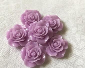 6 pc Purple Rose Cabochons!