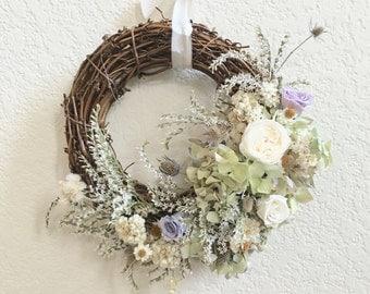 Preserved Flower Wreath III - Hydrangea, Rose,Thistle - Dried Flower Arrangement, valentines flower, Home Decor- Made to order