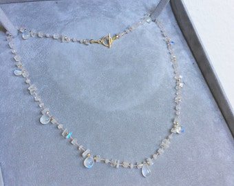 Blue Fire - Hand Knoted Gemstone Rainbow Moonstone necklace,  gold  Made to Order.