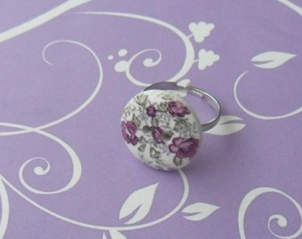 Purple flower button adjustable ring