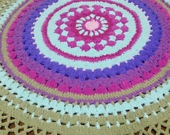 Round Throwrug, Round Afghan, Crocheted Mandala Style Bedspread