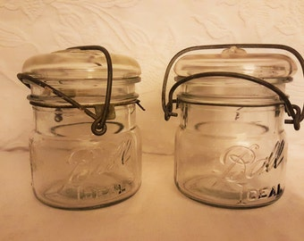Ball Ideal  Eclipse Pint Wide Mouth Bale Closure Canning Jar Set of Two,Clear Glass Mason Jars,Vintage Storage Jar,Farmhouse Country Kitchen