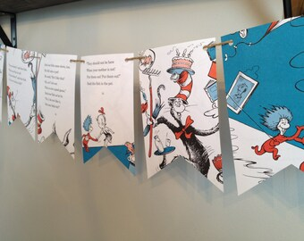 THE CAT in the HAT Dr. Seuss book page banner bunting garland party decoration
