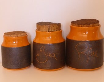 Hanstan Retro Australian Pottery Canisters in Orange & Brown