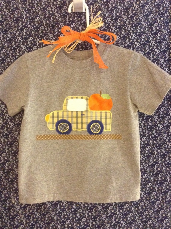 Infant or toddler boy's fall pumpkin truck appliqué t-shirt