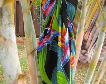 Hawaii Sarong Handpainted Bird of Paradise Hawaiian Pareo Beach Pool Wrap Dress