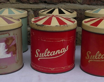 6 Regency Tins. Vintage.