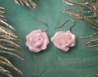 Resin Rose Earrings, Flower Earrings, Silver Earrings, White Earrings,Hypoallergenic, White Flower, White Rose