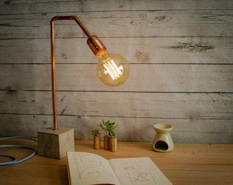 "Industrial concrete copper table lamp, Industrial lamp, Desk lamp, Copper lamp, Edison lamp, Concrete light, Table lamp, Model ""Lamp CC02"""