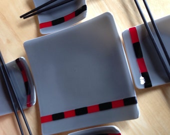 Fused Glass Sushi Set, Fused Glass Platter with 4 Dishes