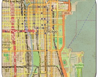 Chicago 1 Vintage Map Coasters