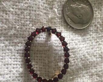 Sale! Quaint Vintage Ruby Red Petite Brooch