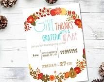 Give Thanks Thanksgiving Invite - 5x7 JPG or PDF