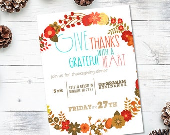 Give Thanks Thanksgiving Invite - 5x7 JPG or PDF