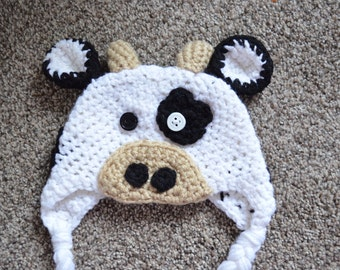 Infant Cow Diaper Cover and Hat Set