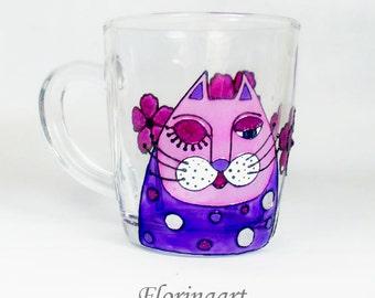 Hand Painted Cat Mug, Cat Coffee Mug, Cat Tea Mug, Cat Tea Cup, Cat mug, Coffee mug,