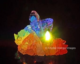 Quartz Crystal, Rainbow Art, Crystal Photo, Chakra Art, Reiki Art,  Sacred Alter, Metaphysical, Yoga Art, Meditation Tool, Spirituality