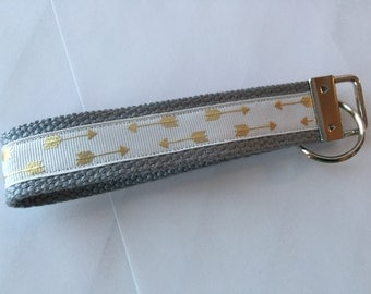 Key Chain / Gold ARROWS gray strap / CHARITY DONATIONS