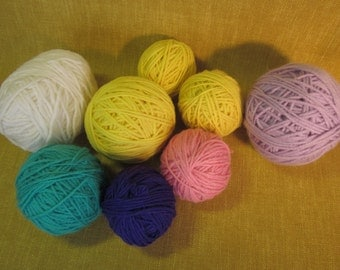 "8 yarn balls, 10 oz total,2""-4"",  1 teal, 1 purple, 1 lavender, 3 yellow, 1 pink, 1 white, 4 ply worsted weight, knitting, crochet,acrylic"