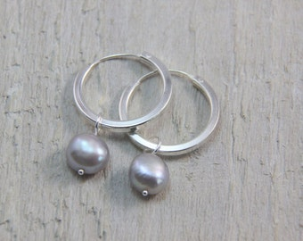 Sterling silver & pearl hoop earrings, contemporary hoop earrings with freshwater pearl, silver pearl earrings, silver hoops, perfect gift.