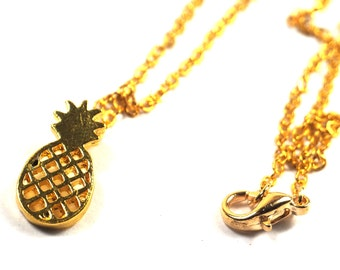 Gold Pineapple Fruit Necklace