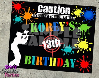 PAINTBALL PARTY DECOR - Paintball Party Sign - Paintball Birthday Decoration - Splattered Paint - Paintball Sign - Teen Birthday Party