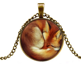 fox necklace red fox necklace fox jewelry fox pendant animal jewelry -with gift box