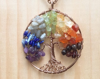 Chakra Tree of Life Pendant 7 Chakras Copper Wire Wrapped Tree
