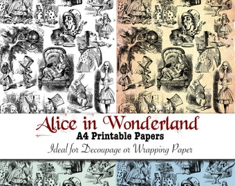Alice in Wonderland Instant Download - Vintage Printable Decoupage and Decorative Gift Wrapping Paper Set of 4 Art Prints
