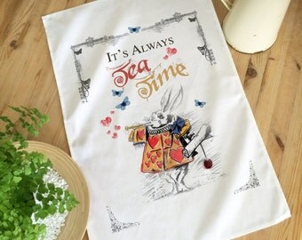 ALICE IN WONDERLAND 'Tea Time' Cotton Tea Towel 68cm x 45cm