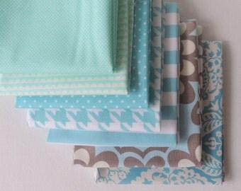 Light Blue Fabric Bundle of Fat Quarters