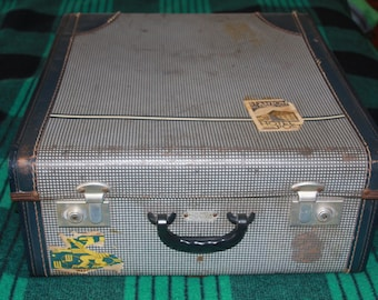 Vintage Chummy Dress Pack Auto Folding Suitcase with travel labels